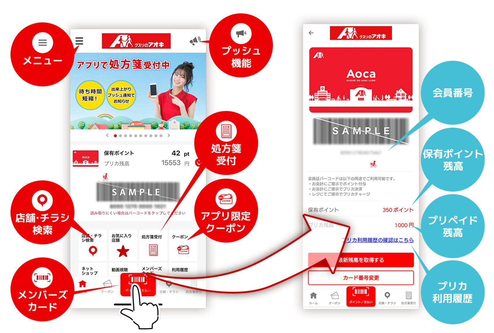 クスリのアオキ公式アプリの機能紹介 メニュー、店舗・チラシ検索、アプリ限定クーポン、処方箋受付、メンバーズカード、プッシュ機能、その他諸々